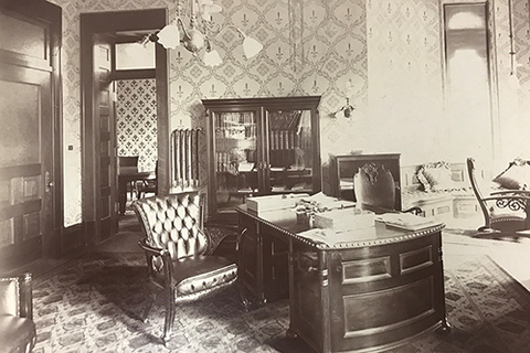 The original archive photo of Andrew Draper's office in Altgeld Hall in 1897.  |  Photo by Bailey Edward