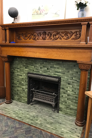 An ornate fireplace in the undergraduate office of the Department of Mathematics.